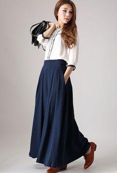Blue skirt woman long linen skrit maxi pleated skirt by xiaolizi