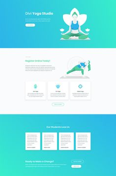 Yoga Layout - 140 Free Divi Layouts. Images and graphics included. 10% Off!