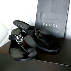 """AUTH GUCCI Kitten Heel Sandals Flip Flop shoes 7.5 Super cute, authentic and comes with box. Silver logo with a 1"""" kitten heel. Gently worn and the heel has almost full life left. Recently had the sole replaced and only wore once after. Super comfy and goes with every thing. Gucci Shoes Sandals"""