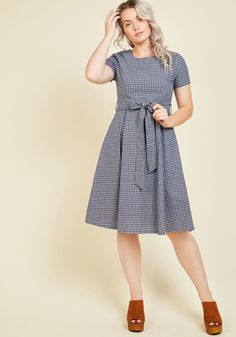 I'd Like to Place an Orchard A-Line Dress. At the town hall meeting, you approach the podium in this plaid dress, ready to pitch your community project proposal. #blue #modcloth