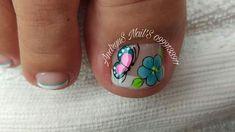 New Nail Art Design, Nail Art Designs, Toe Nail Art, Toe Nails, Pedicure Nails, Manicure, Purple And Pink Nails, Lily, Turquoise