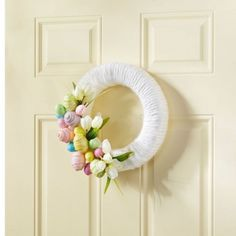 "Michaels Easter Egg Wreath Idea--Add some ""egg-citement"" to your front door with a beautiful Easter wreath. Easter Wreaths, Holiday Wreaths, Holiday Crafts, Spring Wreaths, Holiday Ideas, Wreath Crafts, Diy Wreath, Diy Crafts, Door Wreaths"
