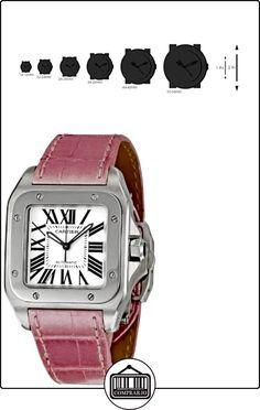 CARTIER SANTOS 100 RELOJ DE MUJER AUTOMÁTICO CORREA DE CUERO W20126X8  ✿ Relojes para mujer - (Lujo) ✿