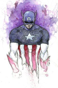Watercolor Illustrations of Super Heroes / Stephen Arthur Shaffer