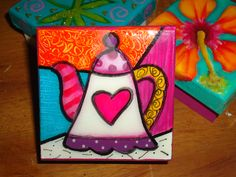 CAJA EN MDF Painted Wooden Boxes, Funky Painted Furniture, Hand Painted, Painting For Kids, Painting On Wood, Art For Kids, Mini Paintings, Colorful Paintings, Butterfly Outline