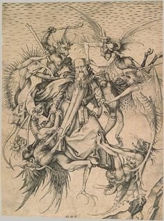 'Saint Anthony Tormented by Demons'  c. 1470–75 by Martin Schongauer at the Metropolitan Museum  (also see previously and Giornale Nuovo) Fuente:  http://bibliodyssey.blogspot.com/2006/10/of-monsters-and-maidens.html