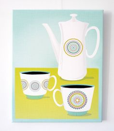 Coffee time - Textiles, Canvas Art Print, Kitchen decor