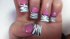 Zebra Nail Designs, Acrylic Nail Designs, Nails Design, Zebra Acrylic Nails, Nail Manicure, Gel Nails, Cute Nails, Pretty Nails, Flare Nails