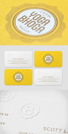 Yoga Bhoga Business Card - Yellow design  crafted business identity card for the company, Yoga Bhoga, a beautiful studio located in Portland, Oregon.  Using a warm yellow, it carries the marks of Indian design in the logo.