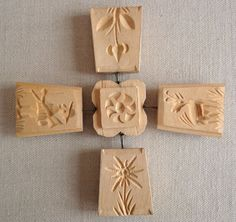 Vintage Scandinavian Butter Mold Hand-carved Hinged Sectioned 5 Pieces
