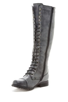 "Bucco  Bucco Lace Up Knee High Boot  Give your look a vintage-inspired style with an edgy twist in this boot.  - Round toe with top-stitching detailing  - Lace up front closures  - Side zip closure  - Approx. 1"" heel  - Approx. 15"" shaft height, 16"" opening circumference  $100.00"
