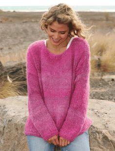 Free knitting patterns and crochet patterns by DROPS Design Drops Design, Easy Knitting Projects, Knitting For Beginners, Summer Knitting, Free Knitting, Sweater Knitting Patterns, Knit Patterns, Cherry Drops, Big Yarn
