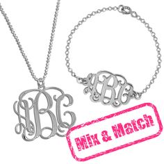 Sterling Silver monogrammed necklace and bracelet must have of every wifey! :) @Eric Stevens