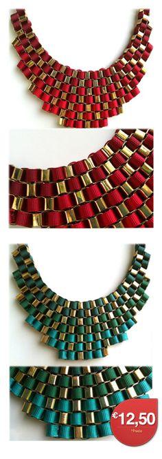 AllTrendy.es Tu tienda de Accesorios - Collar Degradado en Cintas Color Rojo o Verde 12,50€