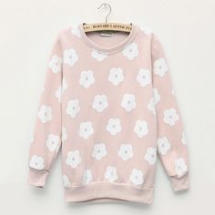 Women Long Sleeve Sunflower Floral Printed Thick Pullover Sweatshirt