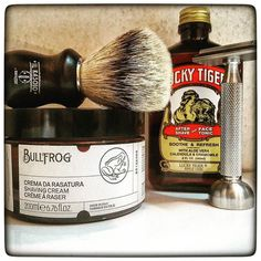 February 5th 2017 - Shave of the day #Rocnel #SE50 316 #Razor (TR) #Bullfrog shaving cream (ITA)  #KAI blade (JPN)  #Zenith #Silvertip #badger #brush (ITA)  #LuckyTiger #aftershave (USA)  #shavelikeaman #shaveoftheday #shavingculture #thebigshave #sotd #classicshave #derazor #vintageshave #wetshaving #worldshave #safetyrazor #instashave #italianwetshavers #rasaturatradizionale