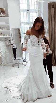long sleeves wedding dress, white wedding dress, 2018 white mermaid long wedding dress with train, bridal gown #weddingdress
