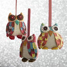 Calico Owl Ornaments    Crate and Barrel