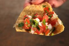 Pico de Gallo Recipe  By Aida Mollenkamp        This fresh salsa is essential for dipping chips in. The lively combination of tomatoes, onion, and cilantro also enhances everything from grilled chicken to quesadillas.    Game plan: The salsa will last up to 5 days refrigerated in a covered container.    This recipe was featured as part of both our Tomatoes! photo...