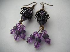Earrings Cones of Purple by GreenwoodMakes on Etsy