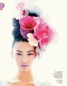 Tian Yi by Chris Craymer for Vogue China February 2013  (In contrast, I love the bright, airiness to this with oversized headress and quirky coloured makeup, looks contemporary)