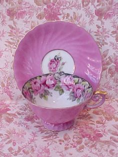 Beautiful Antique Hand Painted Teacup and Saucer with Pink Roses and Black Background