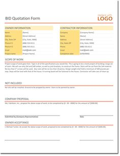 Bid Quotation Template For Excel