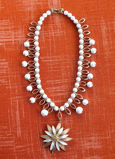 Grace White Flower by Kelley Hollis — Lesley Evers Pearl Necklace, Beaded Necklace, Necklace Designs, Fashion Necklace, White Flowers, Pearls, Jewelry, String Of Pearls, Beaded Collar