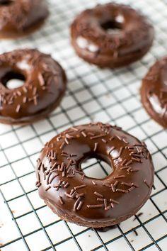 Chocolate Cake Donuts with Nutella Glaze