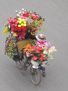 Flower seller in Hanoi, Vietnam