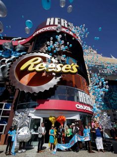 Hershey's Chocolate World opens in Las Vegas. The store features a 74-feet high Hershey's Milk Chocolate Bar.