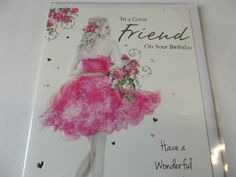 "Lovely ""To A Great Friend"" Birthday Greetings Card. Free P&P"