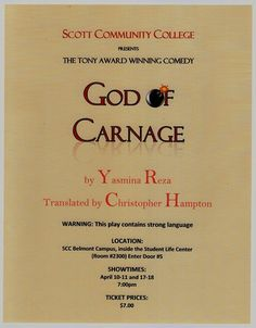 """Scott Community College's Theatre Department is performing the Tony Award winning comedy """"God of Carnage"""" this Spring. Performances will be held at 7 p.m. on April 10, 11, 17 and 18. Tickets are $7.00 a piece. The play will be held at the Scott Community College Belmont Campus Student Life Center. http://www.eicc.edu/news3/scc-spring-play.aspx"""