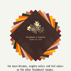 Brown Napkins Fall Leaves Wedding Cocktail or by PineAndBerryShop