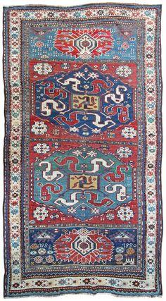 Antique Karabagh Caucasian rug, dated 1880