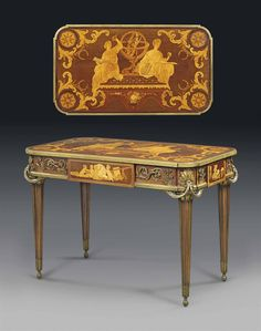 A FRENCH ORMOLU-MOUNTED MAHOGANY, BOIS SATINE, SYCAMORE AND MARQUETRY CENTRE TABLE - AFTER THE MODEL BY JEAN-HENRI RIESENER, BY FRANÇOIS LINKE, INDEX NUMBER 251, PARIS, LATE 19TH/EARLY 20TH CENTURY.