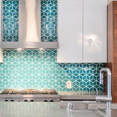 DIY'ers Karen and John Nepacena knew they wanted to raise their growing family in a modern home. When it came time to move, prefabricated options seemed to be the best bet. They figured it would let them get exactly what they wanted from their new space. Kitchen Backsplash, Diy Kitchen, Backsplash Ideas, Tile Ideas, Backsplash Design, Mens Kitchen, Blue Backsplash, Kitchen Flooring, Kitchen Decor