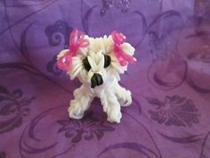 Rainbow Loom Bichon Frise Dog or Puppy Charm. 3-D