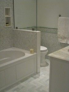 Master Bathroom Knee Wall best remodel for tub shower enclosure | using bathtub shower