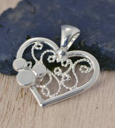 SALE Mickey Mouse Pendant - Disney Necklace - Filigree Heart Pendant - Argentium Sterling Silver - Handmade on Etsy, $31.96