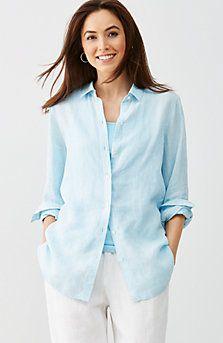 yarn-dyed linen big shirt