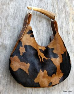 Spotted Hair On Cowhide Leather Hobo Bag with Horn