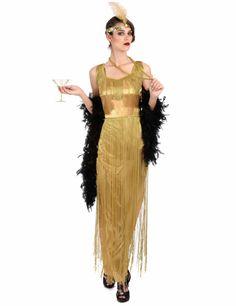 20er Jahre Damenkleid Mafioso Pate Chicago Gold Schwarz Kostüm Damen