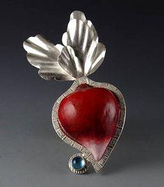 Sarah J.G. Wauzynski: Radish, Brooch in sterling silver with egg tempera on gesso and aquamarine cab.