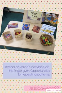 Threading African inspired necklaces on the finger gym. EYFS