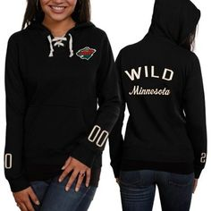 Old Time Hockey Minnesota Wild Ladies Queensboro Lace Up Hoodie - Black