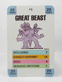 Monster In My Pocket Series 1 - 1 Great Beast Battle Card Matchbox M.I.M.P.
