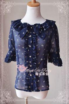The magic of the sea anchor bronzier chiffon shirt lolita