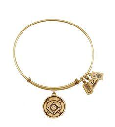 Baseball Diamond Bangle in Gold by Wind & Fire Jewelry