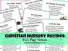 Christian Nursery Rhymes- Full Page Version (plan to use for both my toddler school and Sunday school class)